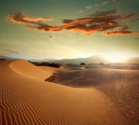 Sand dunes at sunset light on the background of dramatic sky clouds Stok Fotoğraf