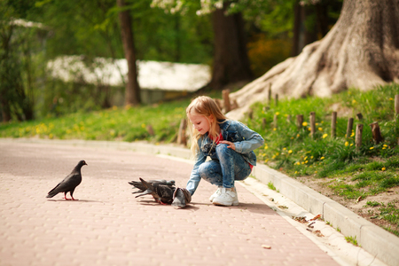 Friendly joyful girl child feeds pigeons in the city summer park 版權商用圖片