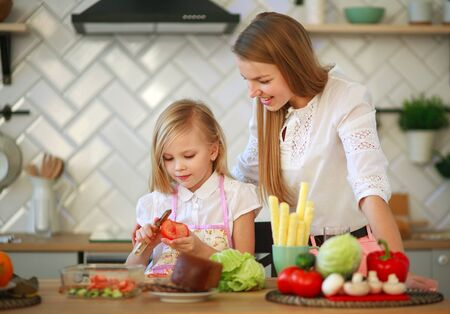 Mother teaches her child daughter how to cook in the kitchen, parenthood and healthy lifestyle, nutrition 写真素材