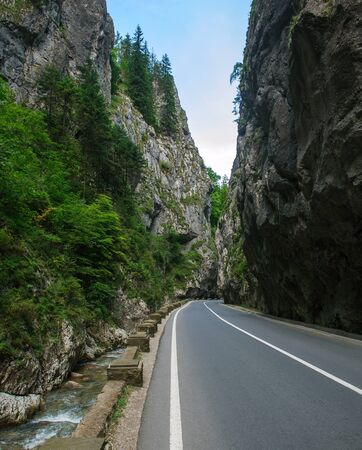 Asphalt road in a rocky gorge among the mountains, Bicaz, Romania 免版税图像