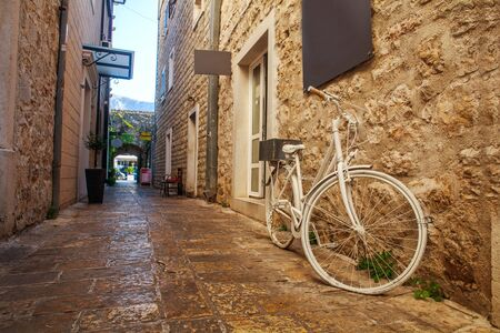 Streets of the old stone city, medieval Mediterranean architecture, Budva, Montenegro