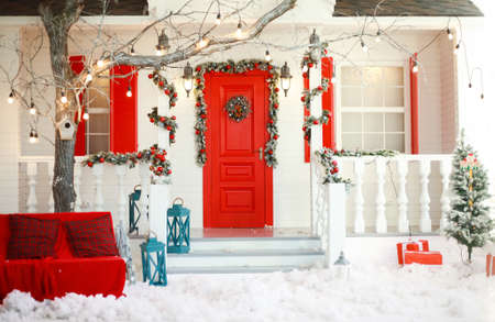 Background of christmas decorative house in new year winter traditional celebration