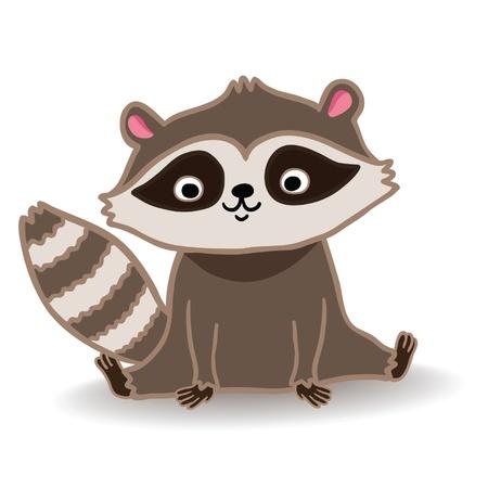 omnivore: Cute cartoon vector illustration of raccoon