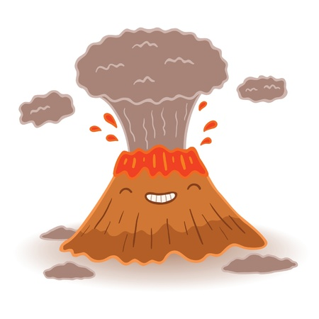 ash cloud: Funny cartoon volcano - vector illustration