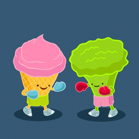 snickers: Fight of ice cream and broccoli  Vector humorous illustration of the confrontation of harmful and healthy food