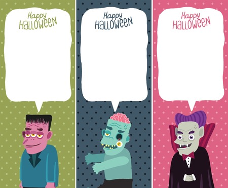 Happy Halloween card set with monster, zombie, Dracula  Halloween background  Vector