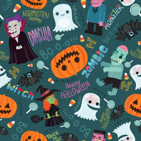Happy Halloween seamless pattern  Cute vector background with Dracula, zombie, witch, ghost, pumpkin