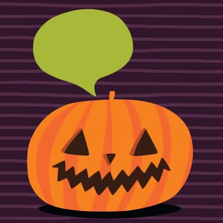 Cute funny Halloween pumpkin with bubble speech Vector
