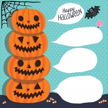 Halloween background  Pumpkins with bubble speech, bat, corn, lollipop, web Illustration
