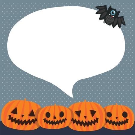 pumpkin face: Cute funny Halloween pumpkins with bubble speech and bat