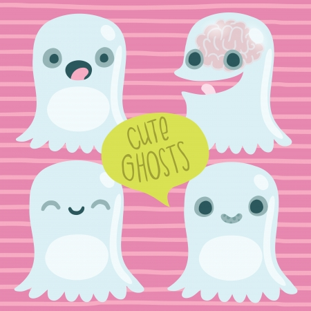 cute ghost: Cute ghost set  Funny Halloween character Illustration