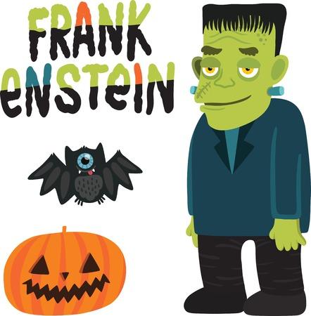 cartoon frankenstein: Halloween character Frankenstein with pumpkin and bat  Illustration