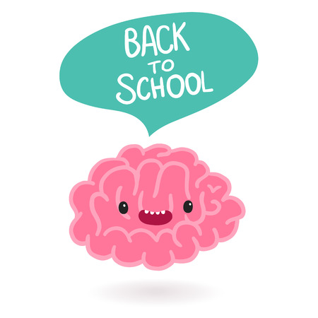 Cute cartoon brain character with bubble speech Vector