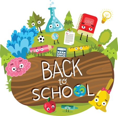lens brush: back to school illustration with cute characters. Illustration