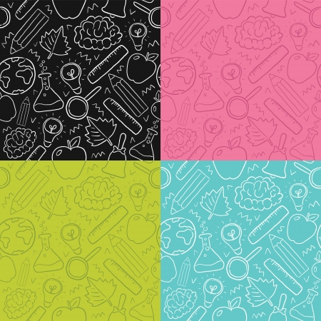 back to school seamless pattern set