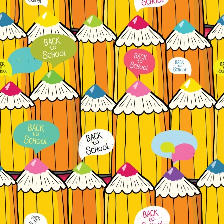Seamless school pattern with speech bubbles and pencils, vector illustration. Illustration