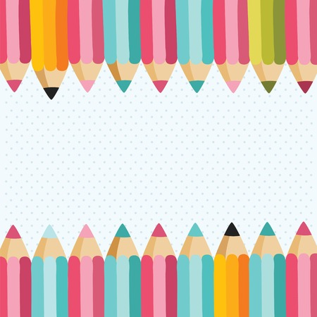 preschool poster: Cartoon cute back to school pencil banner with place for your text.
