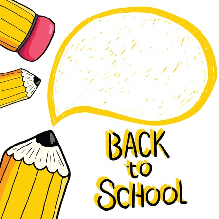 Cartoon cute pencil back to school card with text bubble