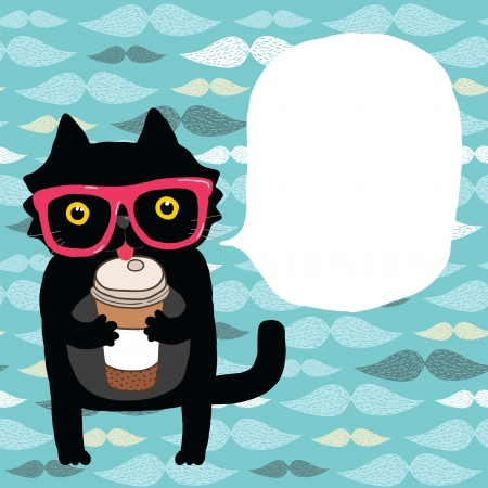 black cat: cute cartoon doodle cat in hipster glasses with coffee cup