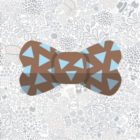 bow on cute cartoon doodle hipster seamless pattern Vector