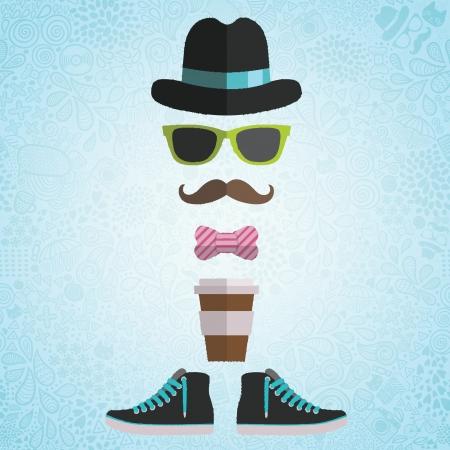 галстук: Хипстер мужчина в шляпе, очки, лук, кофе бумажный стаканчик, кроссовки на каракули фоне