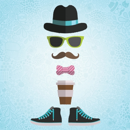 Hipster man with hat, glasses, bow, coffee paper cup, sneakers on doodle background
