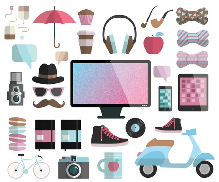 moleskin: Hipster design elements set - computer display, headphones, bow, apple, scooter, sneakers, tea, coffee, cup, mug, muffin, cupcake, hat, glasses, mustache, camera, umbrella, record, bicycle, moleskin