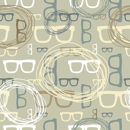Hipster sun glasses seamless pattern vector background