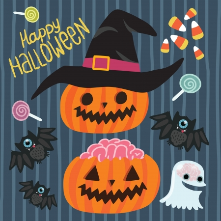 Happy Halloween set with pumpkin, witch hat, bat, ghost, lollipop, corn. Vector