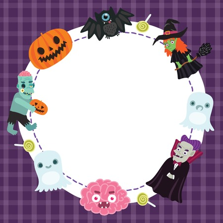 Happy Halloween frame for your design with bat, witch, ghost, dracula, brain, zombie, pumpkin Vector