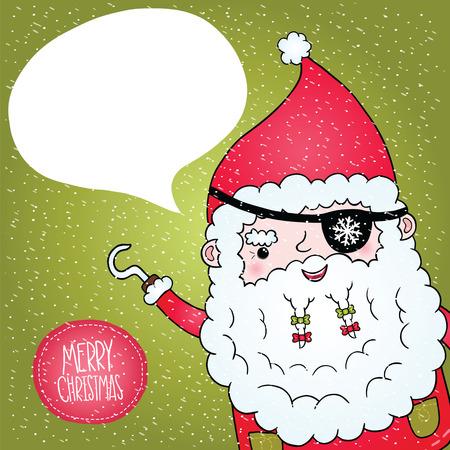 Santa Claus pirate poster. Cute Christmas character illustration Stock Vector - 23357803
