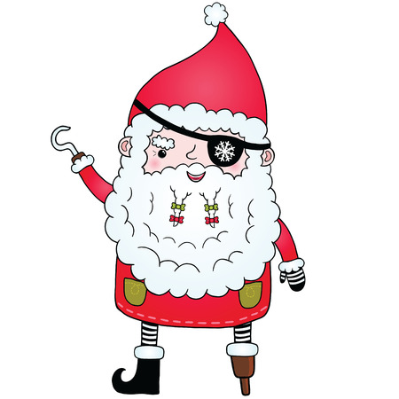 Santa Claus pirate. Cute Christmas character illustration Stock Vector - 23357806