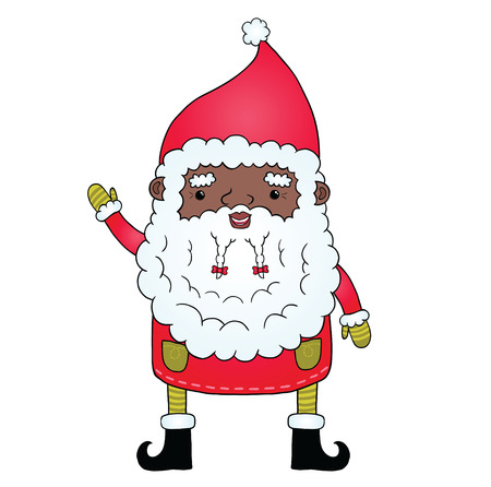 African american Santa Claus. Cute holiday illustration. Vector