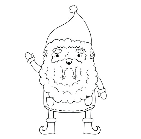 Santa Claus contour. Christmas character cute illustration Vector