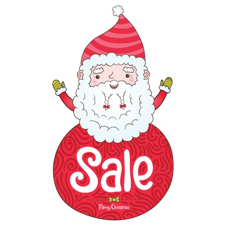 Santa Claus and Christmas sale badge illustration Vector