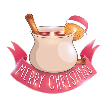Mulled wine with cinnamon Christmas vector illustration
