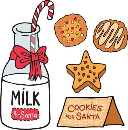 milk and cookies: Milk cookies for Santa Claus. Christmas illustration
