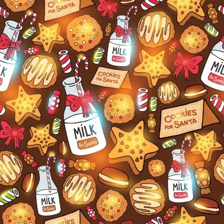 milk and cookies: Milk cookies for Santa Claus. Seamless pattern