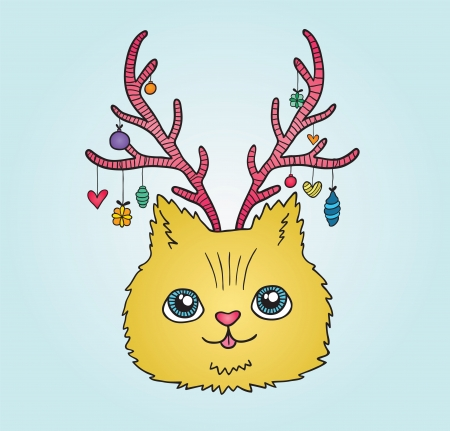 Cute cartoon Christmas cat with deer horns Vector