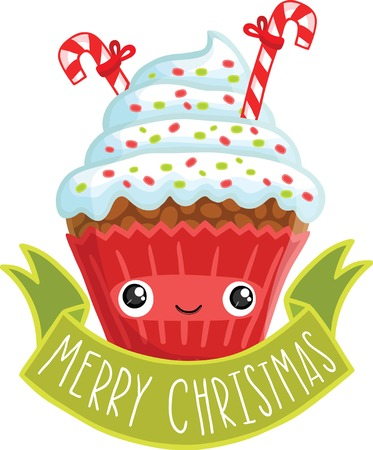 Smiling cupcake. Cute cartoon Christmas muffin illustration Vector