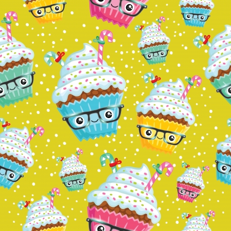 Smiling cupcake. Cute cartoon Christmas muffin illustration