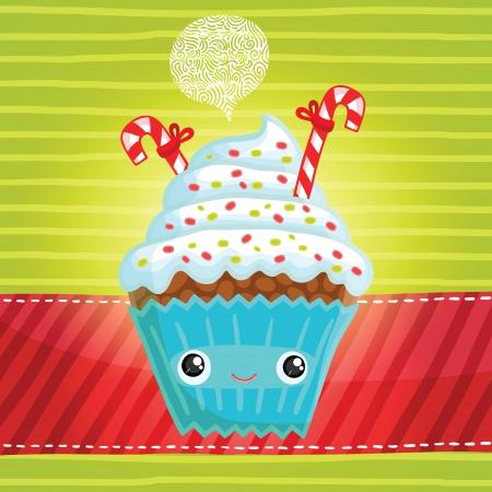 Smiling cupcake. Cute cartoon Christmas muffin illustration Vector