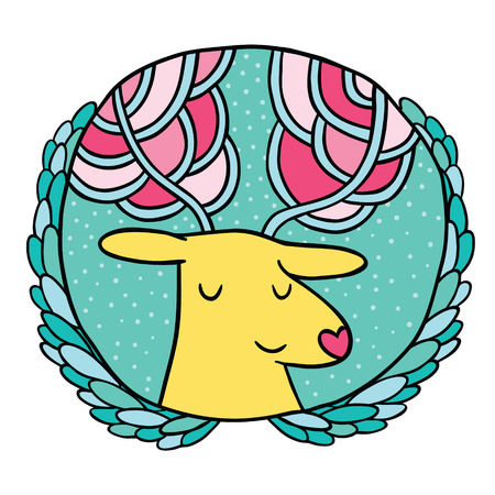 Christmas deer Sale badge. Holiday vector illustration Vector