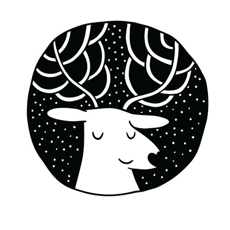 Christmas deer Sale badge. Holiday vector illustration illustration