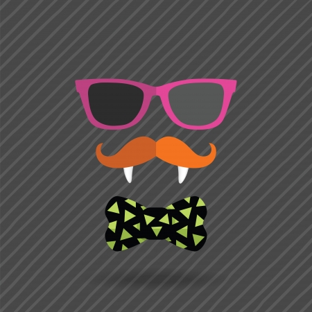 vampire teeth: hipster halloween man with glasses, mustache, vampire teeth and bow