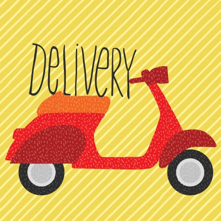 cartoon red vintage scooter, delivery vector illustration