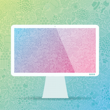 computer display with hipster doodle vector background Vector