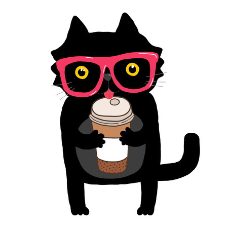 cartoon doodle cat with hipster glasses and coffee cup