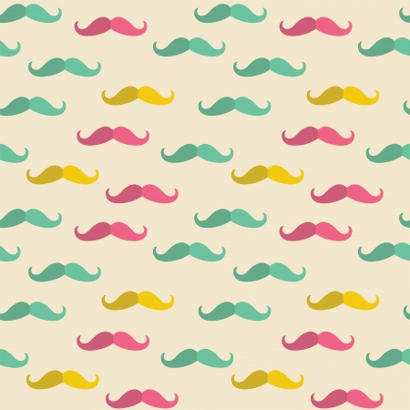 Seamless  pattern with hipster color mustache vector background Vector