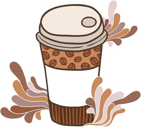 Cute hand drawn cartoon doodle coffee paper cup Vector